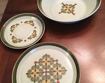 Mikasa WoodStock Vegetable Bowl, Salad Plate and Saucer Retro Pattern - Yellow and Green Retro Pattern - Stone Kraft - Stoneware 1974 - 1975