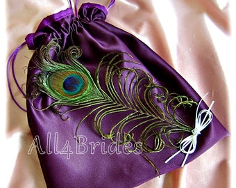 Peacock weddings eggplant purple bridal drawstring bag, wedding dollar dance bag.