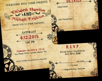 Steampunk Wedding Invitation / Steampunk Wedding Suite / Inviation Suite / Steampunk / black / Gears