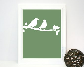 Two Birds on a Branch, Instant Download, Printable Art Print, Sage Green, White, Decor, Modern Nursery, Rustic Contemporary, Animals