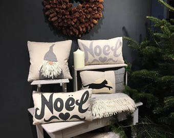 Handmade Charcoal grey Noel cushion