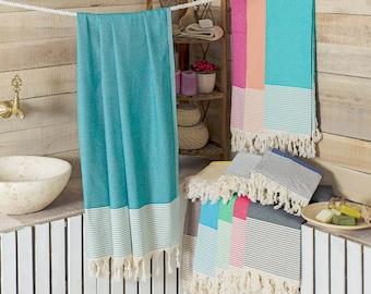 Honeycomb Peshtemal Towel Green Beach - Bath