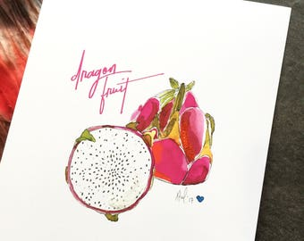 """Dragon Fruit - 8 x 10"""" Art Print - Be Full of Fruit Collection"""