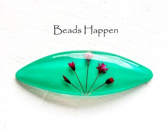 75mm x 25mm Teal Lucite Navette with Embedded Flowers, 3 inches x 1 inch, Teal Green Navette, Quantity 1