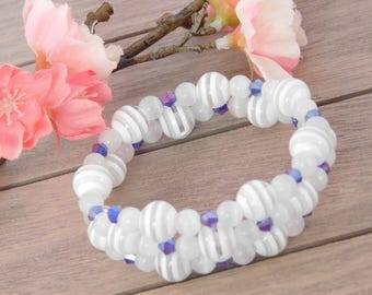 Blue and White Wrap Bracelet - Memory Wire Bracelet - Multi-Layered Bracelet - Gift for Her
