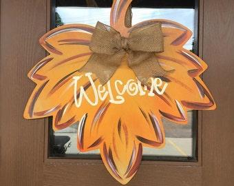Fall Wreath, Fall Door Hanger, Welcome Wreath, Fall Leaf