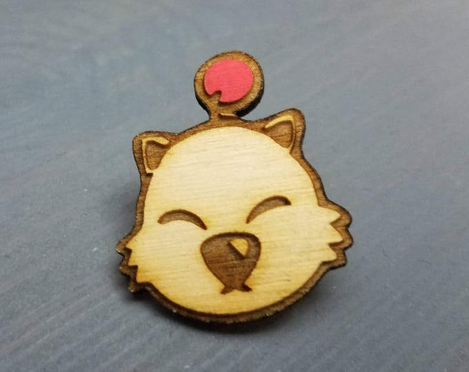Moogle Kupo Pin | Laser Cut Jewelry | Wood Accessories | Wood Pin | Handmade |