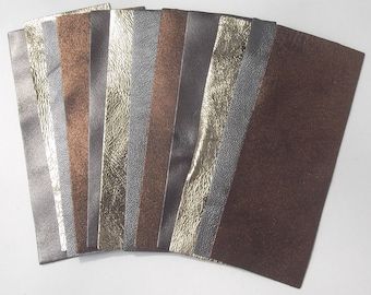 Set of 12 rectangles lambskin metallic colors
