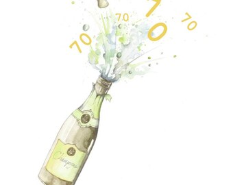 Happy 70th Birthday Champagne Embellished Card taken from an Original Watercolour / Notelets / Birthday Cards / Blank Cards