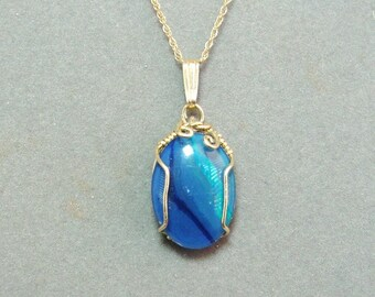 Wrapped Opal Triplet gold filled pendant with chain
