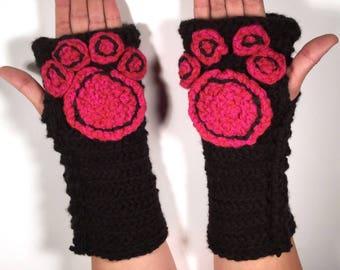 Paw Specialty Fingerless Gloves - cat - dog - animal - cosplay - furry - men - women - winter wear - hot pink - black- goth