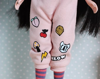 Sweet Pink - Over-sized overalls with patches, tee and striped socks - by Icantdance