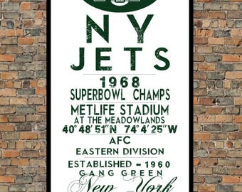 New York Jets - Eye Chart print - sports, football, gift for fathers day, subway sign - Eyechart wall art