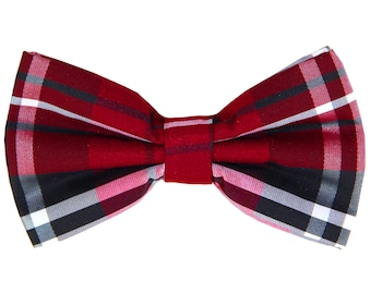 Men's Plaid Black Red White Pre-Tied Bowtie, for Formal Occasions