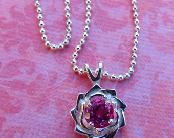 Flower Pendant - Pink Sapphire & Sterling Silver Flower Pendant Necklace - Beautiful Necklace  for Mother's Day or Any Day