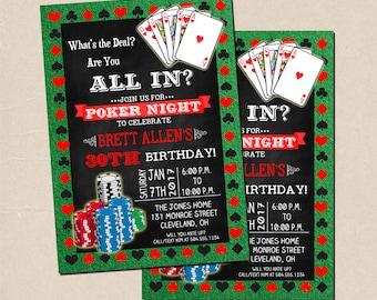 Poker Party Invitation, Poker Birthday Invitation, Poker Night Invitation, Poker Theme Invitation, Digital Printable Invitation