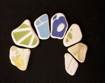 Patterned Sea Pottery, Blue/White/Green/Beige Ornamental Pattern Beach Pottery Lot,Pendant Sized,  Mosaic Pieces
