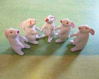 5 Vintage Miniature Easter Bunny Rabbit Plastic Micro Craft Terrarium Figure Animal Diorama Decor Supply (#458)