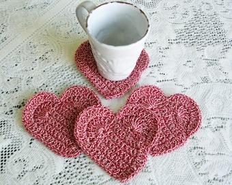 Red White Heart Drink Coasters- Crochet Coasters - Crochet Heart Coaster Set  - Cottage Chic - Cottage Style Home Decor - Rustic Decor