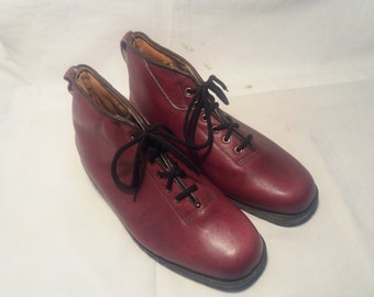 Vintage 1978's Red Leather Hiking Boots - NEW