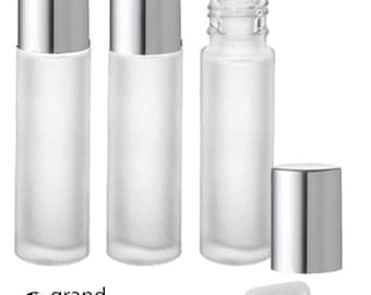 LUXURY Solid SHINY SILVER 10ml Frosted Quality Essential Oil Bottles 1/3 Ounce Stainless Steel Rollerball Insert Premium Aluminum Caps 10 ml