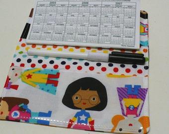 Duplicate Checkbook Cover with Pen Holder - Duplicate Checkbook Register - Fabric Checkbook Cover - Check Book Cover  - Superhero Girls!