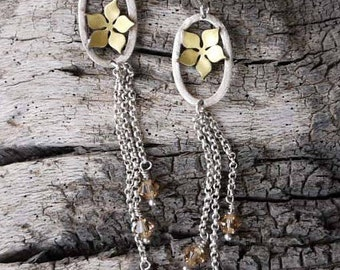 Silver earrings dangle - flower earrings dangle , long silver earrings design made of strerling silver, brass and swarovski.