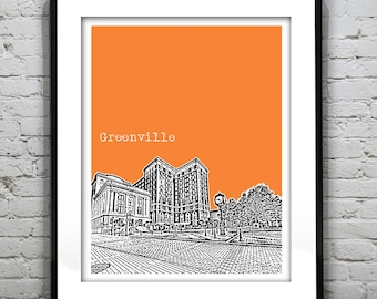 Greenville South Carolina City Skyline Poster Art Print SC Version 2