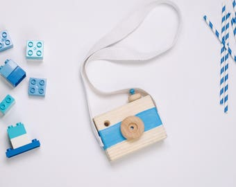 "The ""Simple"" Cam - Custom Handmade Wooden Camera - Kids Wooden Toys - Handpainted - Push Button"