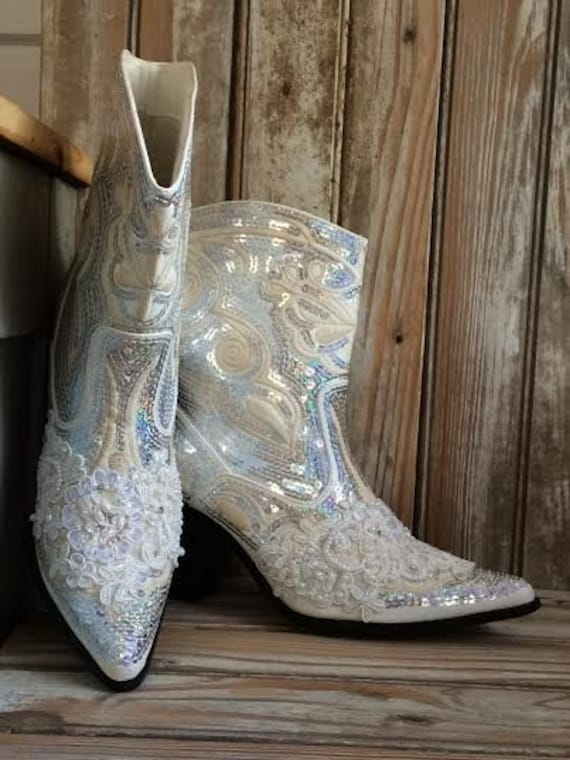 Bridal Bling Cowboy Boots. Country Bride. Hand made with