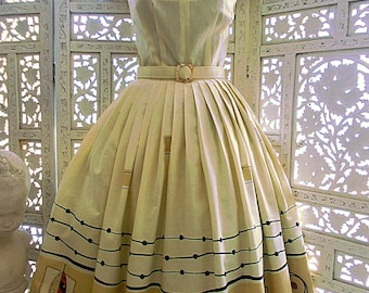 50s style novelty border print Mid Century cotton full skirt dress with wing collar is newly made from early 1960's fabric & dress pattern.