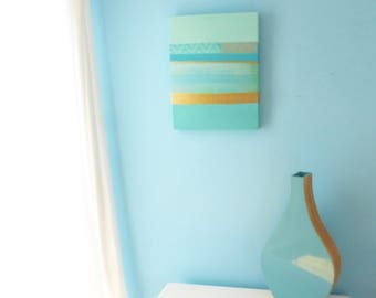Mint and turquoise abstract seascape painting on deep edge canvas