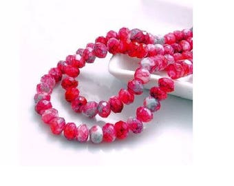 set of 10 faceted crystal glass red marble 8 mm