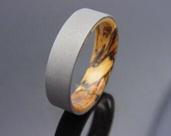 Tamarind wood ring with blasted Titanium Handmade wedding band