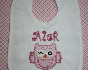 Owl - Personalized applique bib