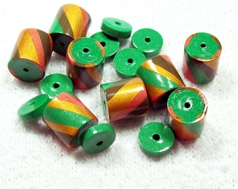 NOW ON SALE Green and Gold Striped Polymer Clay Beads - Handmade - with Spacers