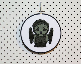 Doctor Who Weeping Angel Cross Stitch