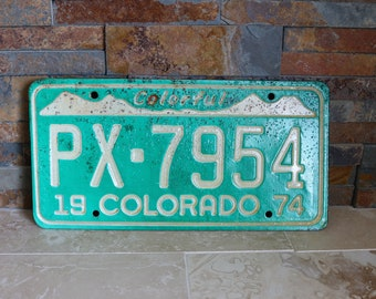 1974 Colorado license plate, Colorful Colorado license plate, vintage license plate, old license plate, man cave decor, bar decor, garage