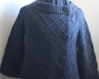 Kate Spade Cardigan, Basket Cable Charcoal Wool 1990s