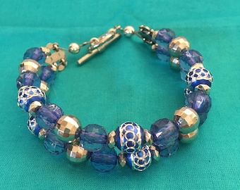 Blue with sliver Crystal looking beaded 2 strand bracelet.