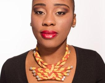 This necklace orange indigo soninke African