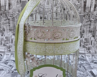 Wedding Birdcage Card Holder, Old White and Oliv Wedding Card Box, White Lace Wedding Decor, Crystal Money Box