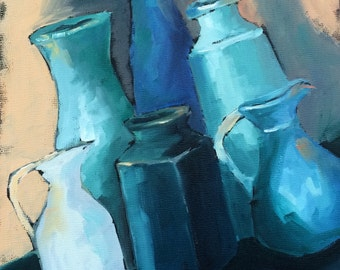 Blue Bottles • Askew Blue • Original Art • Oil Painting • Daily Painter • Daily Painting