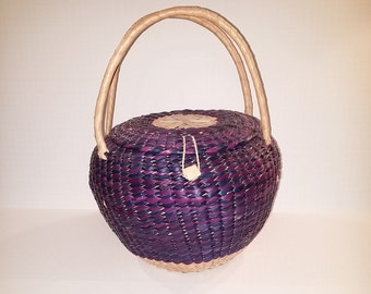Large Vintage Woven Snake Charmer Basket with Lid and Handles