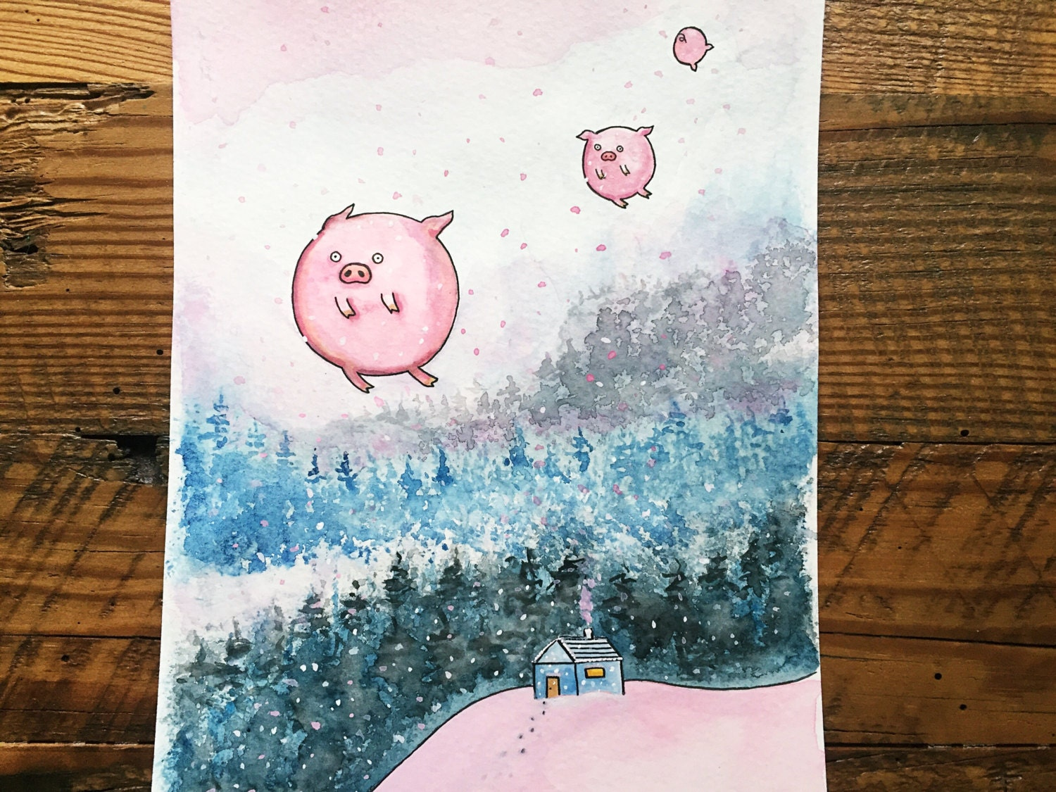 Flying Pigs Painting Cute Watercolor Of Winter Pink