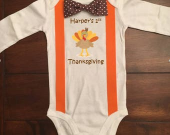 Items Similar To Customizable Baby Boy First Thanksgiving Outfit