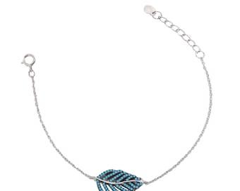 sterling silver 925 bracelet, spring fashion, blue leaf