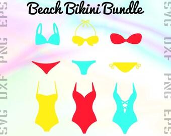 Beach Bikini SVG Files - Bikini Dxf Files - Swimsuit Clipart - Bikini Cricut Files - Bikini Cut Files - Bikini Silhouette - Bikini Png