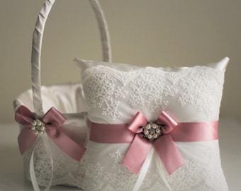 Mauve Flower Girl Baskets / Mauve Ring Bearer Pillows / Lace Wedding Pillows / Lace Wedding Baskets / Dusty Rose Bearer / Lace Ring Cushion
