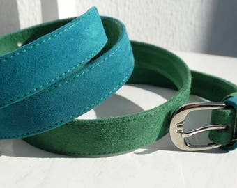 Suede Belt/Blue and Green Leather Belt/ready to ship